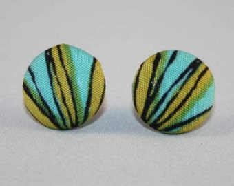 Fabric Covered Button Stud Earrings - Hypo-Allergenic Surgical Steel