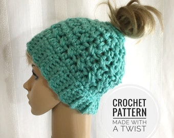 Messy Bun Hat CROCHET PATTERN - Pattern for Crochet Ponytail Hat - Bun Beanie Crochet Pattern - Running Hat Pattern - Bun Hat Pattern