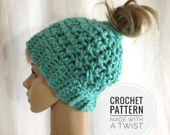 CROCHET PATTERN for Messy Bun Hat - Pattern for Crochet Ponytail Hat - Bun Toque Crochet Pattern - Running Hat Pattern - Crochet Ponytail
