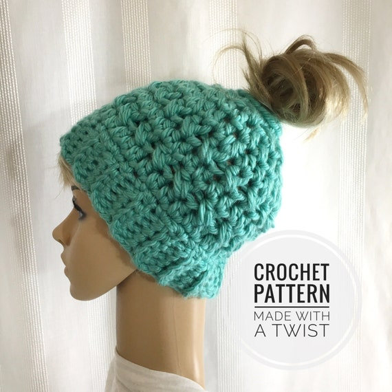 Crochet Messy Bun Hat : Messy Bun Hat - Pattern for Crochet Ponytail Hat - Bun Toque Crochet ...