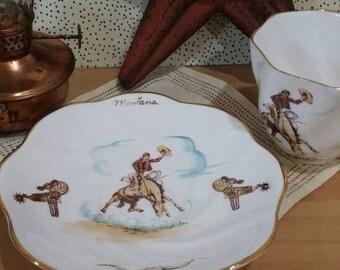 Vintage 1950s Rosina Montana Cowboy Teacup and Saucer Bone China