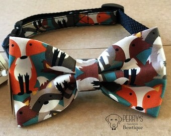 Colourful Foxes Bow Tie and Collar OR Bow Tie Only *OPTIONAL
