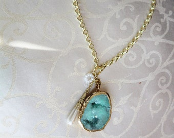 Turquoise Dream Geode Necklace