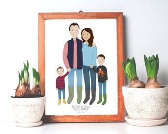 Custom Family Portrait Illustration - Digital 8x10 Print - Birthday, Anniversary, Valentines Day, Mothers Day Gift