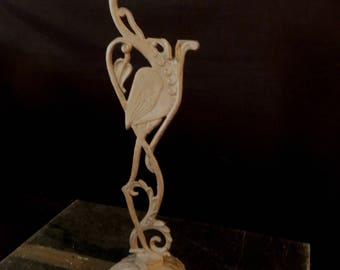 Cast Iron Antique Flamingo Bird - Metal Tropical Bird - Vintage Figure Figurine Floor Stand - Bohemian Decor