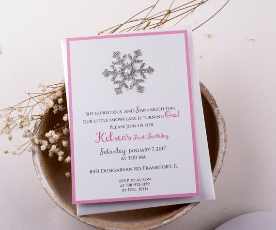 Winter Onederland Invitation First Birthday Invitations in Pink and Gold Winter Wonderland Invitations. Girl First Birthday Invitations.