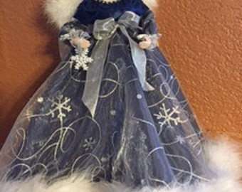Blue Snowflake Angel ~ 12 in Treetop or Tabletop Angel by PFeignCottage