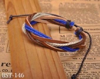 Leather and Hemp Bracelet, Brown Leather Woven Wrist Bracelet, Adjustable Bracelet  BST-146