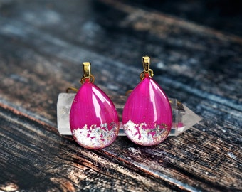 Hot pink earrings , fuchsia earrings , pink earrings , pink drop earrings , fuchsia dangle earrings