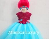 Poppy Troll Luxury Dress, Poppy troll birthday dress, poppy troll costume, poppy troll outfit, poppy princess dress, trolls birthday theme