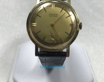 Vintage Original 1960s Gruen Precision Round Stainless Steel Back Wrist Watch