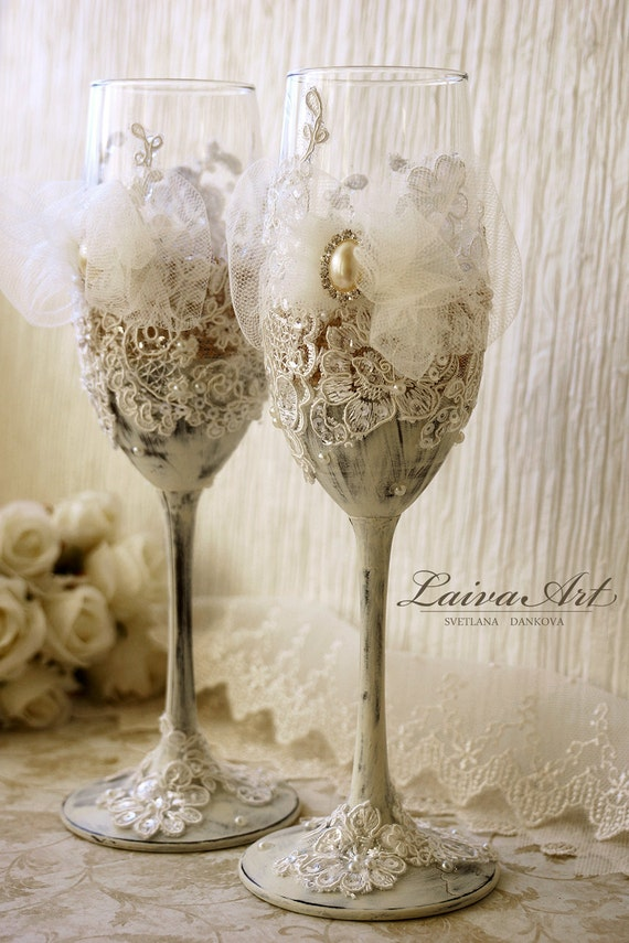 rustic wedding champagne flutes wedding champagne glasses lace wedding
