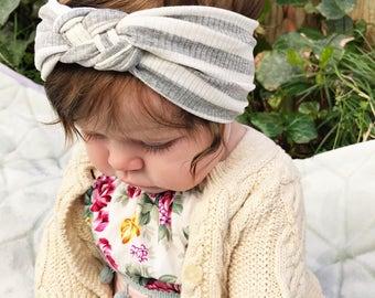 Gray Ribbed Striped : baby sailors knot headband