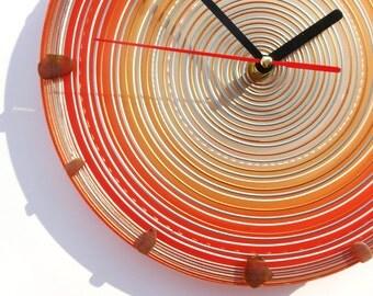 Wall Clock, Glass Art, Wall Decor, Gift For Home, Painted Glass, Round Clock, Orange Clock, Glass Clock, Art Home Decor, Modern Design