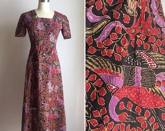 60s cotton maxi dress XS ~ vintage batik print dress ~ bird novelty print