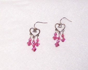 Pink Heart Earrings, Crystal Heart Earrings, Silver heart Earrings