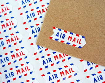56 Air Mail Stickers Postage Shipping Airmail Penpal Stickers / Stationery / 239
