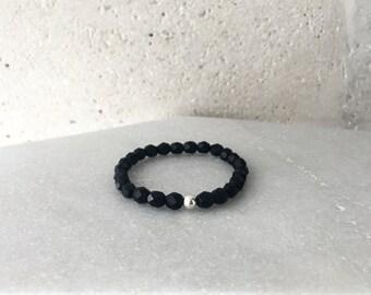 Large Matte Black Bead Bracelet