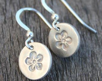 Silver flower drop earrings, small drop earrings, small earrings, simple silver earrings, tiny silver earrings, everyday silver earrings