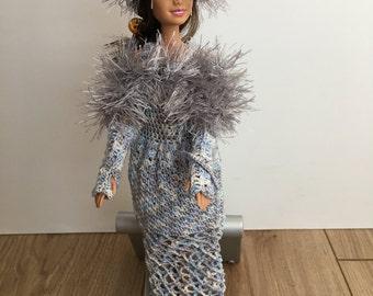 Barbie crochet hat, Barbie stole, Barbie fur hat,crochet Barbie gown, Barbie doll party dress,