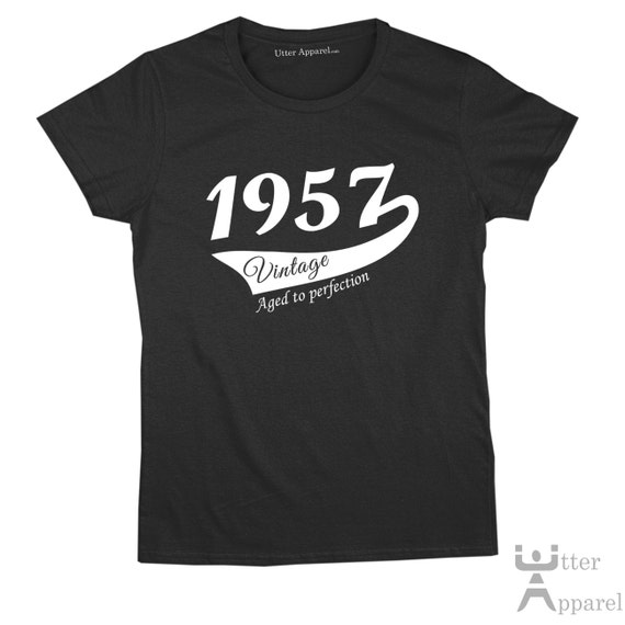 60th Birthday Gift For Woman 1957 Vintage   T shirt woman turning 60, Antique Cherry Red, Indigo Blue, Purple Sizes S-2XL