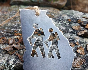 Georgia Hikers Christmas Ornament GA Metal State Heart Christmas Tree Ornament Holiday Hiking Traveler Hike Wander Mountains Trails Outdoors