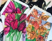 Tulip and Rose Watecolor Note cards