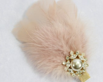 Blush Bridal hair piece Feather Fascinator Wedding hair piece Bridal Hair Clip Feather hair clip Bridal Hair Clip Wedding feather Hair Clip