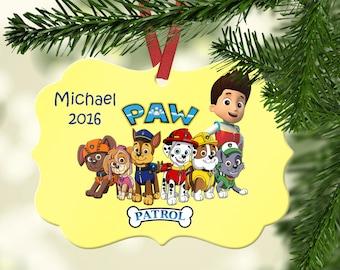 Personalized Paw Patrol Ornament ~ ~Zuma ~ Skye ~ Marshall~ Chase ~ Rubble ~ Rocky ~ Ryder ~ Christmas Ornament