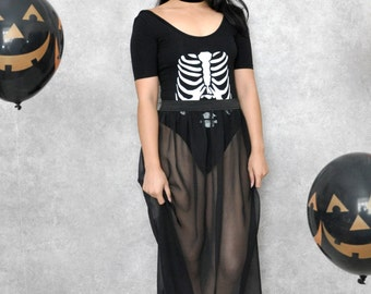 Black Mesh Sheer Halloween Maxi Skirt
