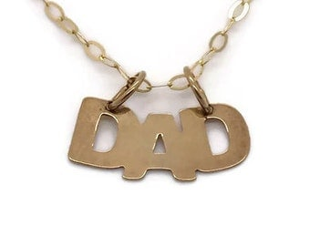 Gold DAD Pendant, Mens Necklace, Fathers Day, Gold Necklace Men, Dad Necklaces, Mens Gold Necklace, Mens Gold Jewellery, Gold Pendants Men