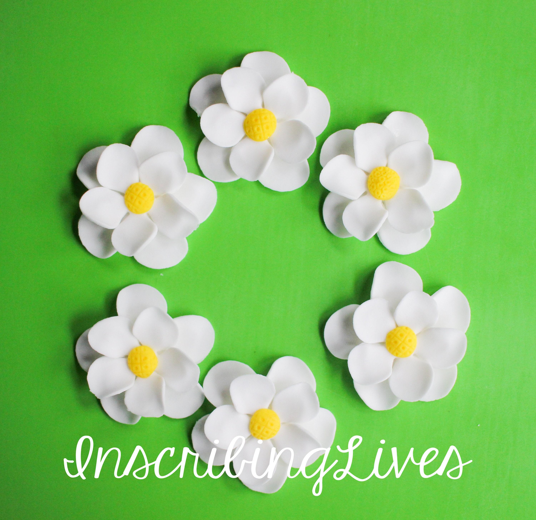 Plumeria Fondant Flowers White Flower Yellow Center Sugar Flowers
