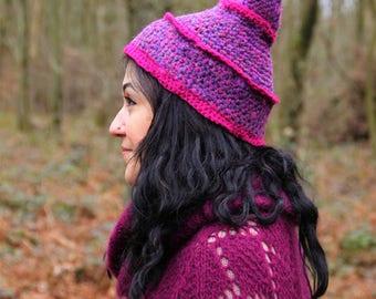 Pointed Crochet Beanie / pixie hat / Fairy hat, gnome, elf hat / Fairy clothing / pink, purple, fuschia / fantasy, festival, forest, sprite