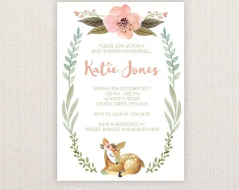 Sweet Baby Shower Invitation. Fawn and florals. I Customize, You Print.
