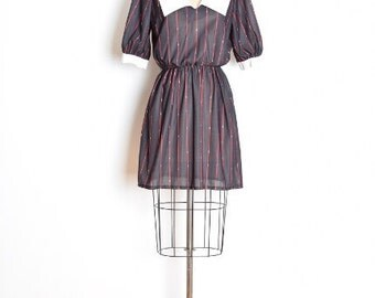 vintage 80s dress, striped dress, dolly dress, puritan collar, pointy collar dress, black dress, pin stripe dress, mini dress, 80s clothing
