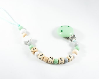 Personalized Pacifier Clip - Pacifier Clip - Pacifier Holder - Pacifier Chain - Personalized Baby Gift - Dummy Clip - Baby Shower Gift