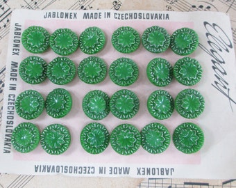 36 Vintage Czech Glass Buttons Green Silver Flower Floral Pattern Fancy Button Lot Card 1950s 60s Textured Molded Pressed Art Deco