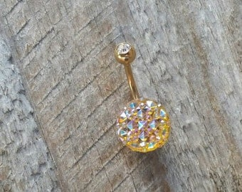 Sparkling Belly Button Ring, Bling Belly Ring, Gold Belly Ring, Body Jewelry, Navel Belly Button Piercing.