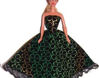 Fashion Doll Clothes-Black/Gold Shamrock Print Strapless Dress