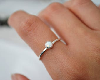 Opal Sterling Silver Ring - Stacking rings