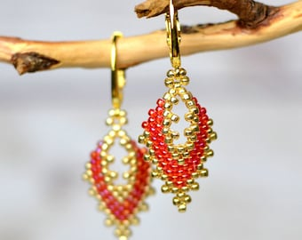 Gold red earrings party earrings bright earrings girlfriend gift for wife gift romantic earrings bohemian earrings handmade jewelry for her