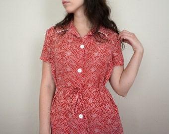 Red Polka Dot Button-Up Dress
