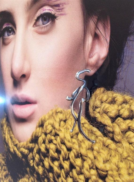 Single Hoop Earring- Abstract Sculptural Large |  Mono Earring, Long Post Earring | Contemporary Silversmith Earring | OOAK | Minimalist