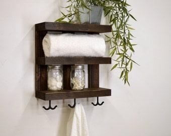 Three Tier Bathroom Shelf with Towel Hooks