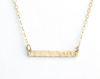 "Mini Name Bar Necklace- Hammered, 1"", Gold Filled, Sterling Silver or Rose Gold Filled"