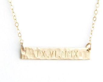 """Classic Roman Numeral Bar Necklace, Hammered, 1.25"""", Personalized, Gold Filled, Sterling Silver, Rose Gold Filled"""
