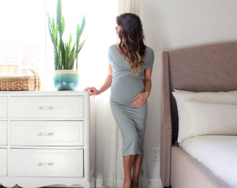 Maternity gown fitted short infinity maternity dress- The Bodycon Wrap