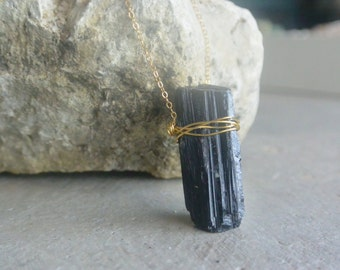 """Raw Black Tourmaline Wand Necklace on 20"""" dainty Gold Filled Chain"""
