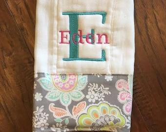 Burp Cloths/ Cloth Diaper Burp/ Single Diaper/Newborn/ Baby Floral  Girl/ Baby Shower Gift