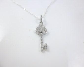 Key Necklace, Sterling Silver Key Necklace, Dainty Necklace, Key Pendant, Dainty Key Necklace